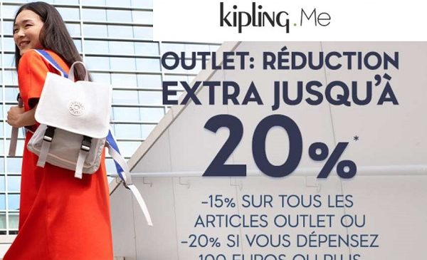 offre flash outlet kipling 15% supplémentaire (sans mini) 20% supplémentaire
