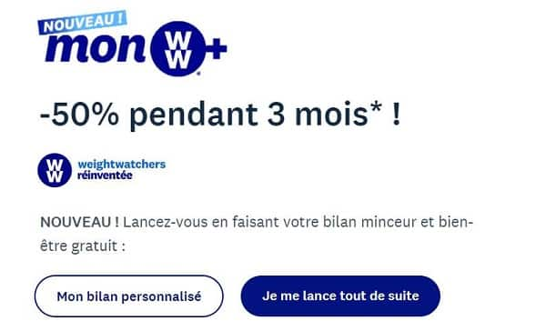 programme ww weight watchers 50% les 3 premiers mois