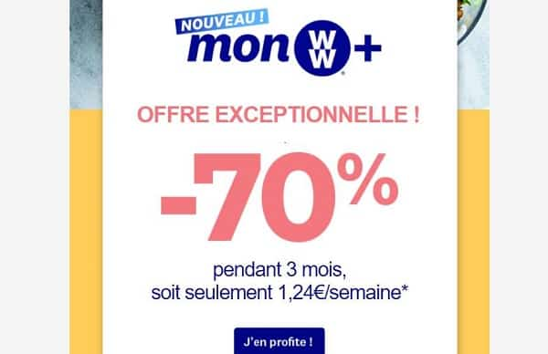 programme ww weight watchers = 70% les 3 premiers mois