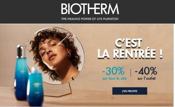 vente privée biotherm 30% sur tout le site et 40% sur l'outlet