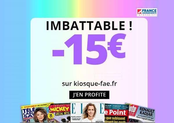 abonnements magazines à prix exceptionnels 15€ de réductions supplémentaire sur plus de 200 titres