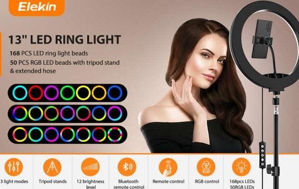 anneau lumineux led 13 pouces + trépied 145 cm + support smartphone + télécommande bluetooth elekin