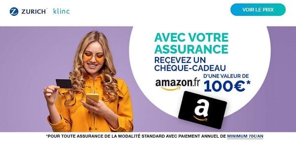 assurance smartphone en ligne klinc souscrite = un chèque cadeau amazon 100€ offert