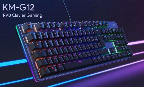 clavier mécanique rétro éclairé gaming aukey 105 touches km g12