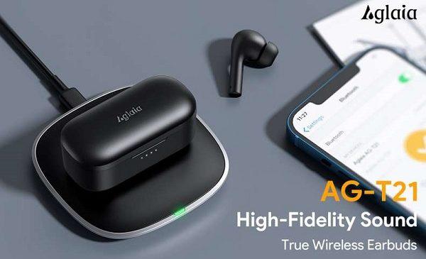 écouteurs bluetooth type airpods aglaia ag t21 avec boîtier de charge et chargeur sans fil