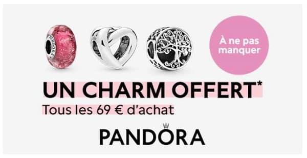 1 charm pandora offert tous les 69€ d'achat