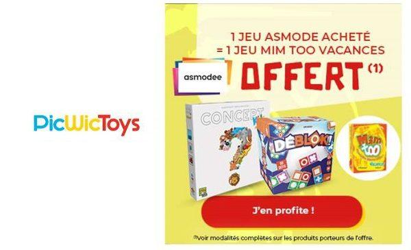 1 jeu mim too vacances gratuit pour l'achat un jeu de société asmodée