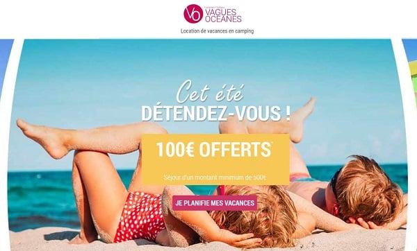100€ de réduction sur vos vacances en camping cet été avec vagues océanes