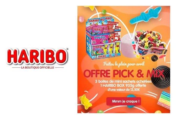 3 boîtes de minis sachets achetés = 1 haribo box de 935g offerte