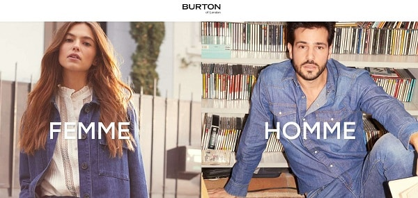 burton of london 20% sur la nouvelle collection 50% sur les fins de collection