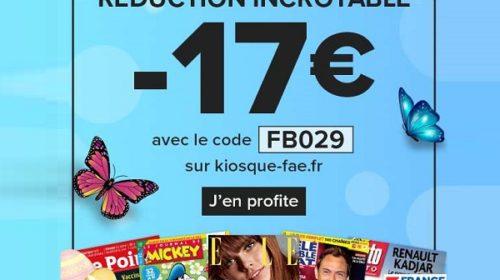 code pour obtenir une reduction de 17€ sur vos abonnements magazines