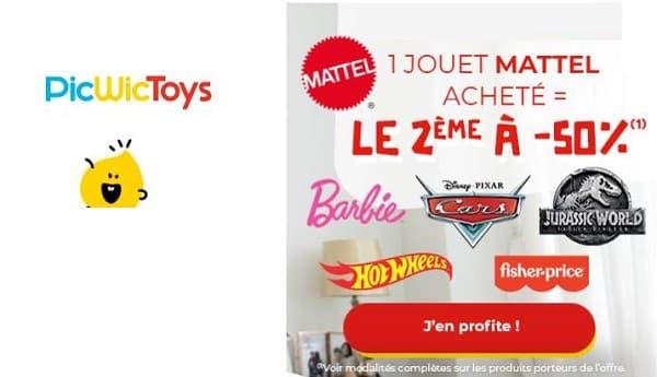 picwictoys 1 jouet ou jeux mattel acheté = 50% sur le second article