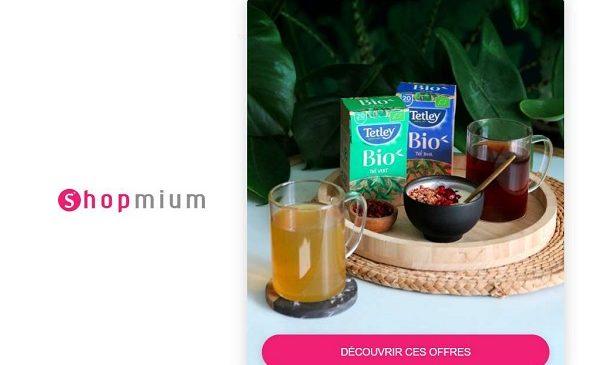 thé gamme bio tetley moins cher remboursement shopmium