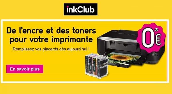 une cartouche d'encre à 0€ ou du papier photo pour 0 € sur inkclub
