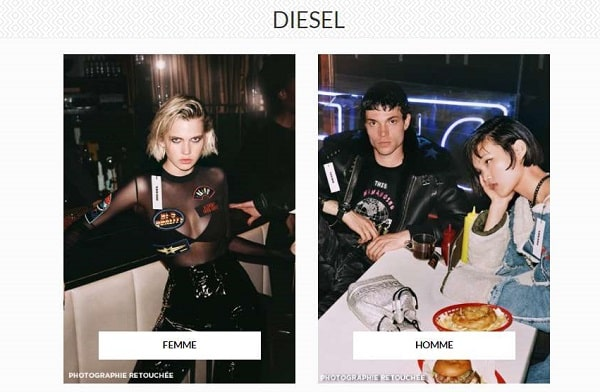 vente privée diesel (homme & femme) sur brandalley