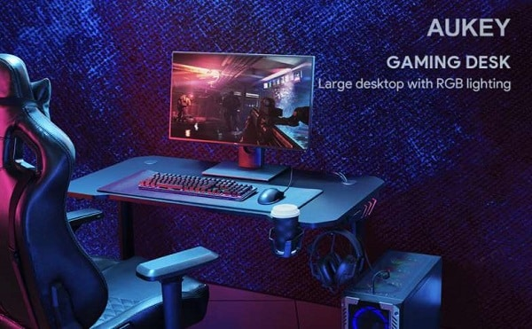 bureau gaming acier massif éclairage rvb aukey ly113