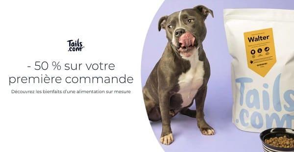 remise de 50% sur votre premier mois de croquettes pour chien tails