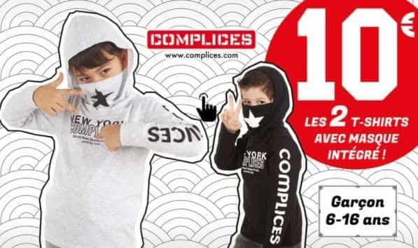 10€ le pack de 2 t shirts enfant avec masque intégré complice