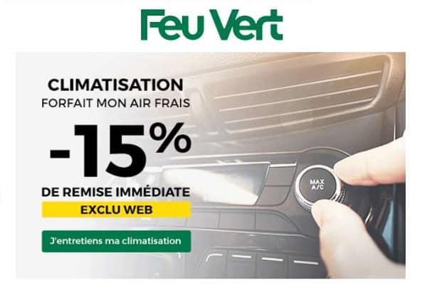 15% de remise sur l'entretien climatisation chez feu vert