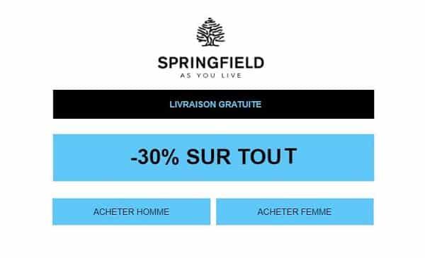 30% de remise sur tout le site springfield et la livraison offerte