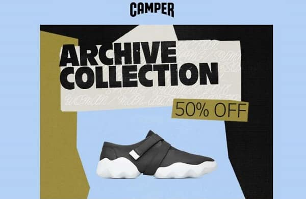 50% de réduction sur archive collection camper