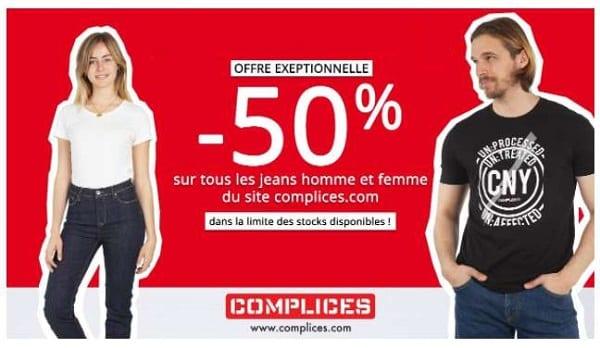 50% sur tous les jeans homme et femme sur le site complices