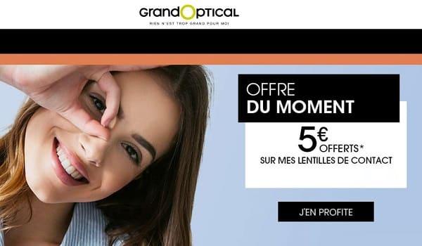5€ offerts sur vos lentilles de contact achetées sur GrandOptical (dès 30€)