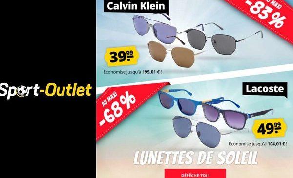 braderie lunettes de soleil calvin klein & lacoste à partir de 39,99€ sur sport outlet