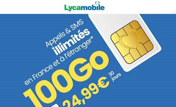Forfait mobile Lyca XL 100Go : 24,99€ avec appels internationaux inclus (50 dest.), sans engagement, carte SIM gratuite