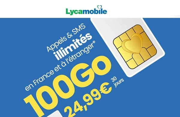 forfait mobile lyca xl 100go 24,99€ avec appels internationaux inclus