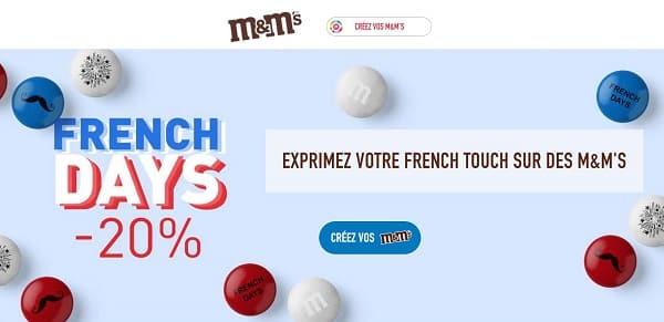 French Days M&M's : 20% de remise sur toutes vos commandes de M&M's