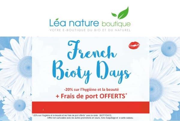 les french bioty days 20% sur l'hygiene et la beauté léa nature