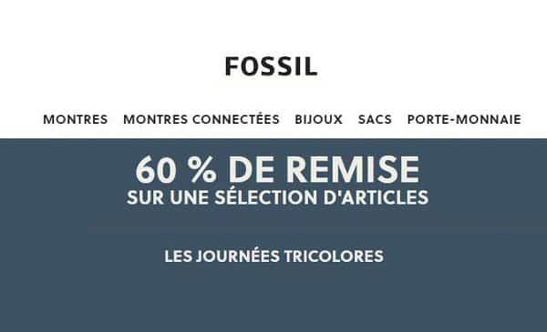 Les journées tricolores de Fossil = 60% de remise sur une sélection d'articles homme et femme (livraison gratuite)
