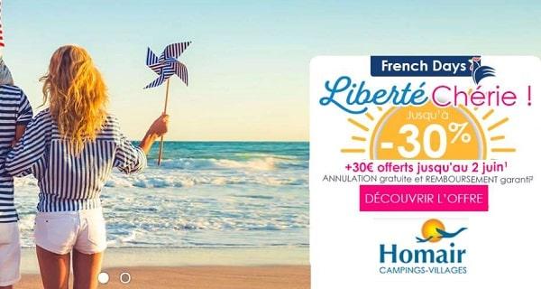 les offres french days de homair jusqu'à 30% sur vos séjours + une réduction supplémentaire