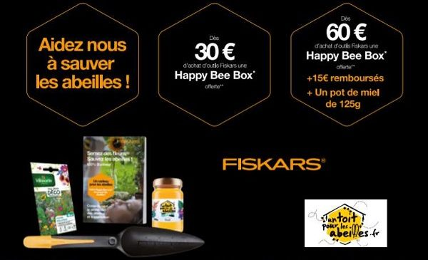 offre fiskars happy bee box (1 plantoir + graines offerts)