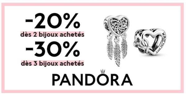 offre spéciale pandora 20 % dès 2 bijoux, 30 % dès 3 bijoux