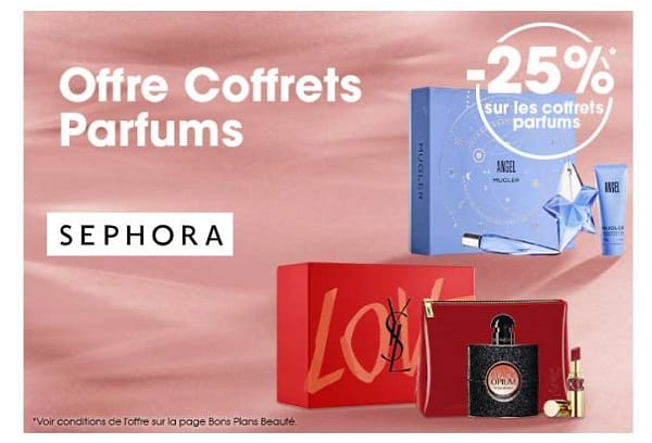 remise de 25% sur les coffrets parfums sur sephora