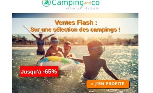 ventes flash campings jusqu'à 65% sur camping and co