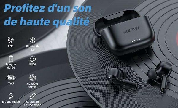 écouteurs Bluetooth avec micro intégré ACEFAST T1