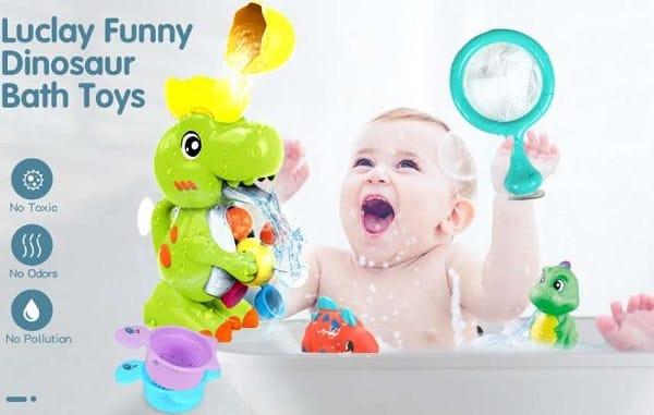 jouet de bain dinosaure cascade + 2 petits dinosaures, 2 passoires et filet de pèche luclay