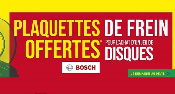 1 jeu de disques acheté et monté chez Euromaster = les plaquettes de frein Bosch gratuite