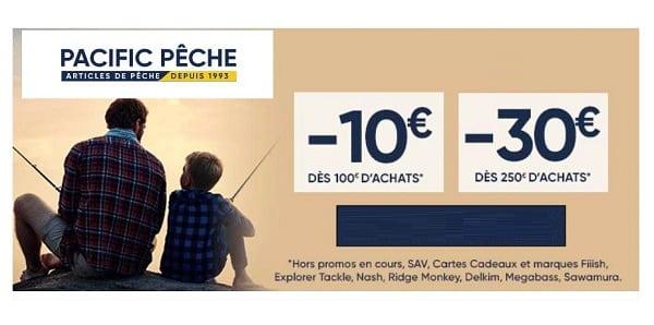 10€ de remise dès 100€ d'achat sur pacific pêche