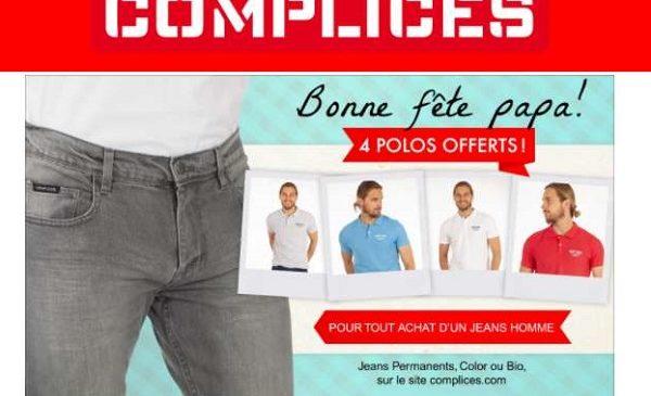4 polos homme Complice gratuits pour l'achat d'un jean homme (vendus entre 34,99€ et 39,99€)