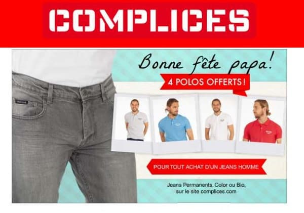 4 polos homme complice gratuits pour l'achat d'un jean homme