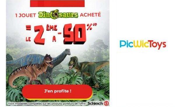 50% de remise immédiate sur la deuxième figurine dinosaurs de schleich