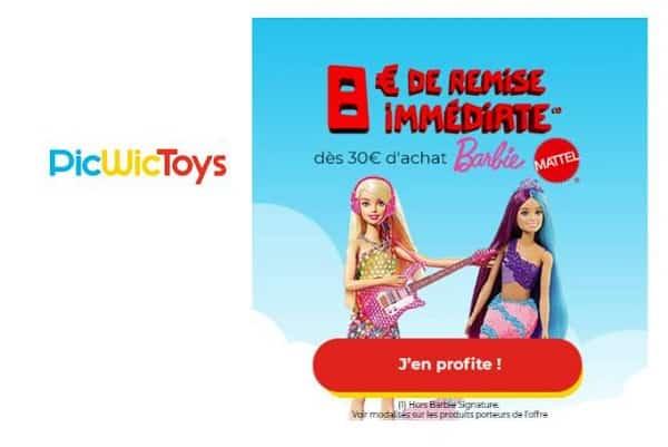 offre barbie picwictoys 8€ de remise immédiate dès 30€
