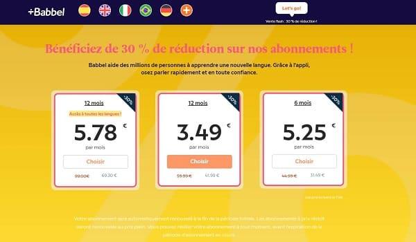 offre flash babbel remise de 30% sur les abonnements de cours de langues babbel