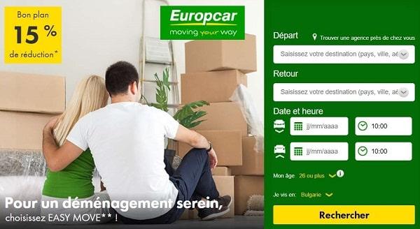 offre location de véhicule pour déménagement europcar réduction sur la formule easy move