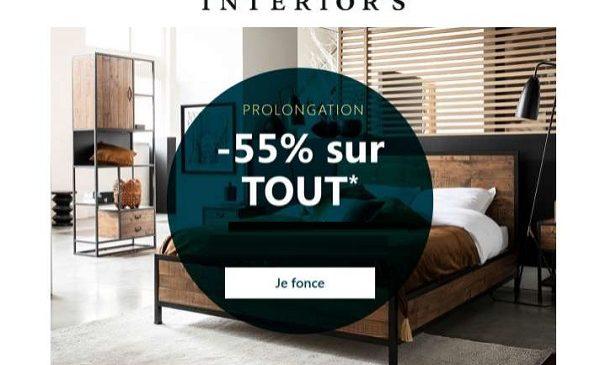 offre spéciale interior's 55% de remise sur tout