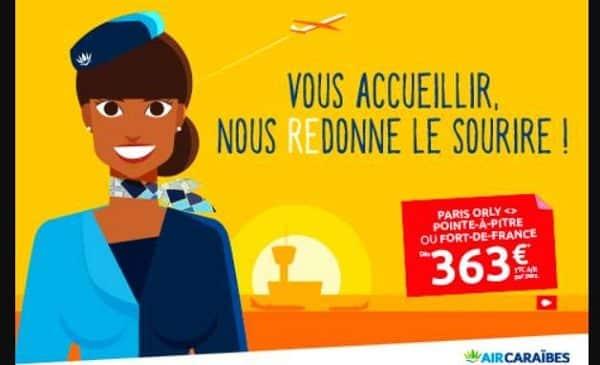 offre spéciale billet avion air caraïbes paris pointe à pitre et paris fort de france